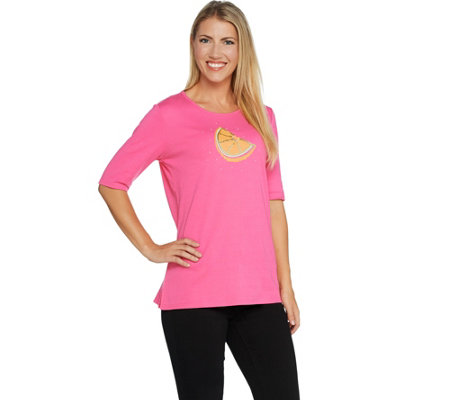 Quacker Factory Fruit Fun Sequin Elbow Sleeve Knit T-shirt