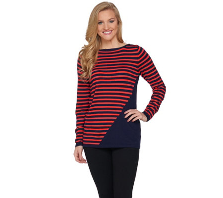 """As Is"" Susan Graver Striped Rayon Nylon Bateau Neck Sweater"