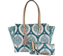 DENA East/West Shopper Tote w/ Pouch and Wristlet - A296622
