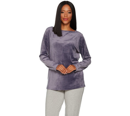 AnyBody Loungewear Velour Boat Neck Tunic