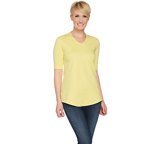"""As Is"" Isaac Mizrahi Live! Essentials V-Neck Elbow Sleeve Tunic"