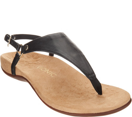 Vionic Leather T-Strap Sandals - Kirra