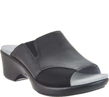 Alegria Leather Slide Wedge Sandals - Ryli