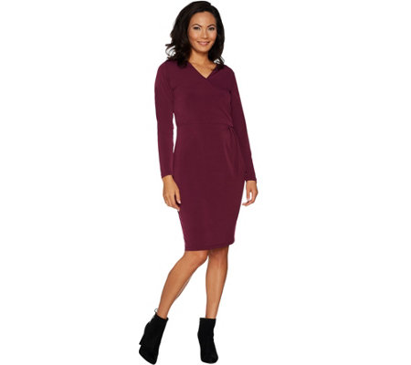 """As Is"" Belle by Kim Gravel Knit Crossover Dress"