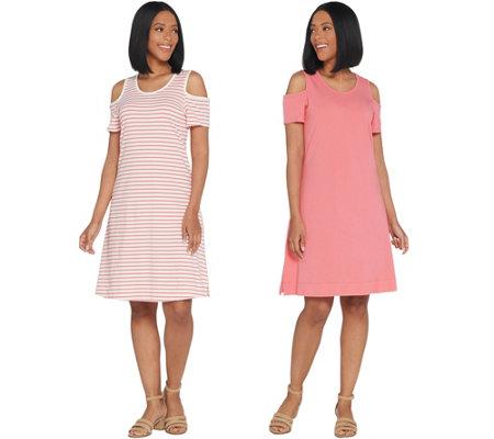 Denim Co Set Of 2 Stripe Solid Cold Shoulder Dresses