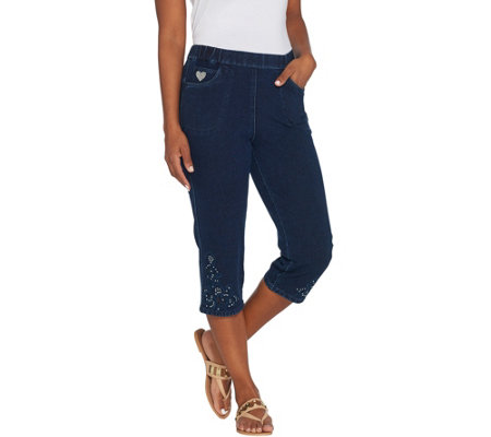 Quacker Factory DreamJeannes Pull-On Capri Pants w/ Cut-Out Detail