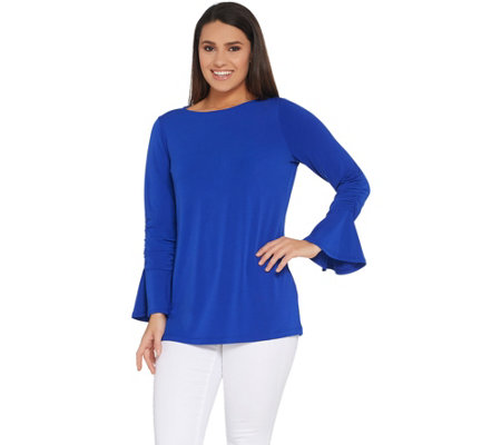Every Day by Susan Graver Liquid Knit Bell Sleeve Top w/ Ruching