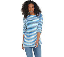 Denim & Co. Active Striped French Terry Boat Neck 3/4 Sleeve Tunic - A309322
