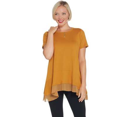 LOGO by Lori Goldstein Short-Sleeve Knit Top with Chiffon Flounce