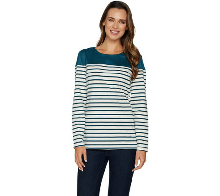 """As Is"" Denim & Co. Long Sleeve Striped Top with Solid Faux Suede Yoke"