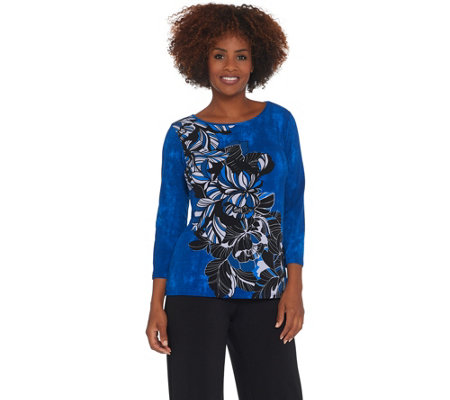 Bob Mackie Art Deco Placement Print Knit Top