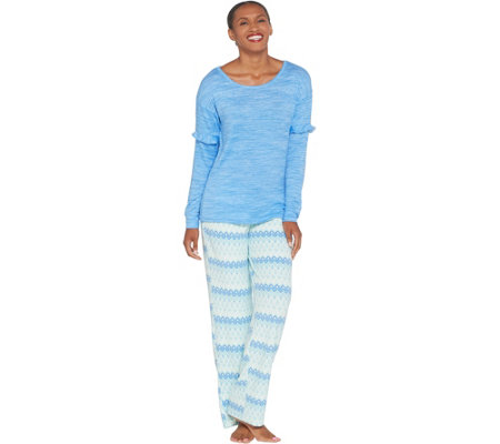 16671bbe78 MUK LUKS Butter Knit Sleep Top and Fleece Pant Pajama Set - Page 1 ...