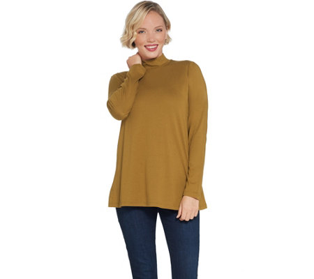 LOGO Principles by Lori Goldstein Cotton Modal Mock Neck Top