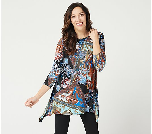 Attitudes by Renee Como Jersey Bateau Neck Printed Tunic