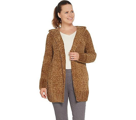 Lisa Rinna Collection Chenille Cardigan with Hood