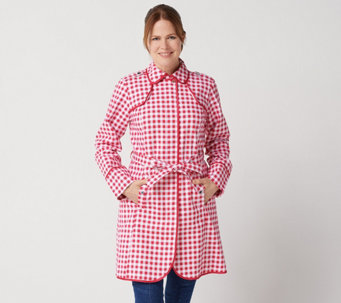 Isaac Mizrahi Live! Gingham Trench Coat with Piping Detail - A351122