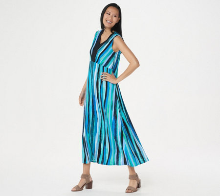 Bob Mackie Regular Striped Maxi Dress
