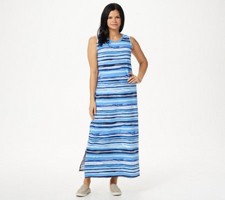 Denim & Co. Printed Perfect Jersey Maxi Dress with Side Slits