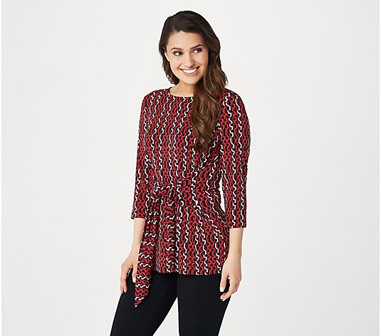Susan Graver Printed Liquid Knit 3/4-Sleeve Tie-Front Top