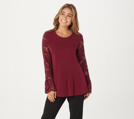 Susan Graver Liquid Knit Fit & Flare Top with Lace Sleeves
