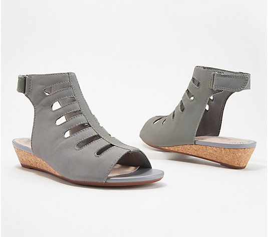 """As Is"" Clarks Collection Leather Cutout Wedge Sandals- Abigail Sing"