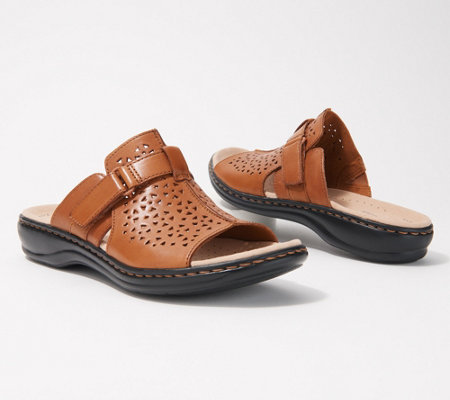 """As Is"" Clarks Collection Leather Slide Sandals"