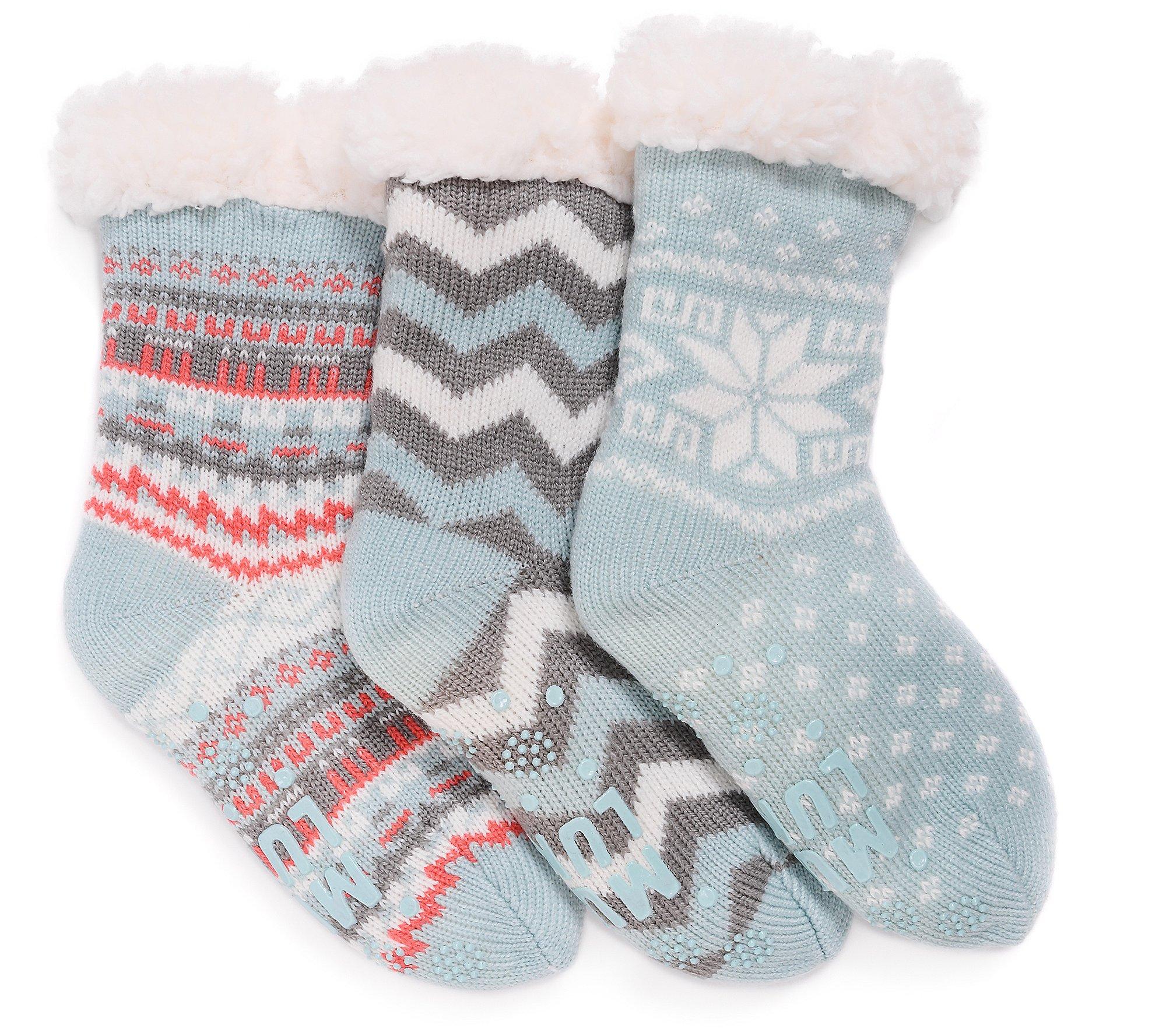 MUK LUKS Children's Jojoba Infused Cabin Socks Set of 3 - QVC.com