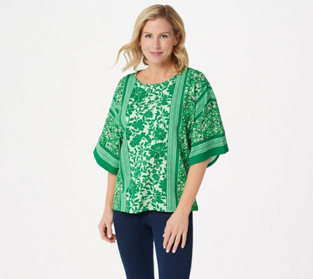 """As Is"" Bob Mackie Mix Floral Print Dolman Sleeve Knit Top"