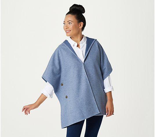"""As Is"" Denim & Co. Regular Heathered Cozy Button Side Poncho"