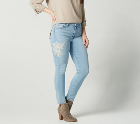 Jen7 by 7 For All Mankind Ankle Skinny Jeans w/Embroidery
