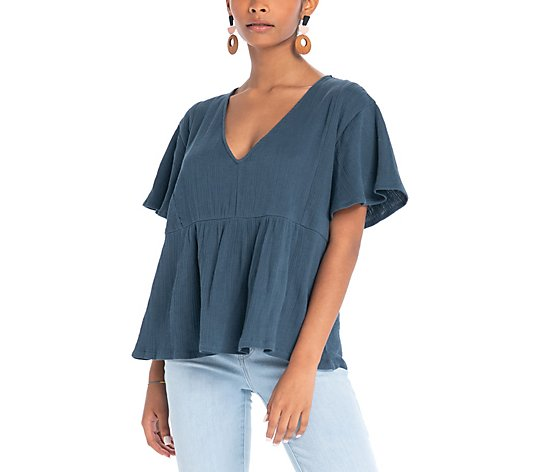 Synergy Daisy Bell-Sleeve Peasant Top