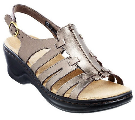 """As Is"" Clarks Leather Lightweight Sandals - Lexi Marigold"