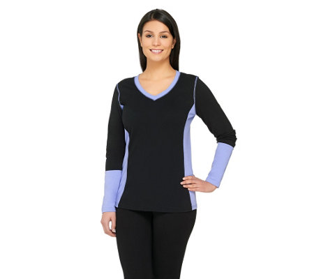 Denim & Co. Active Perfect Jersey Color-block Top