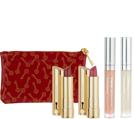 bareMinerals Dazzling Dimensions 4pc Lip Collection and Bag