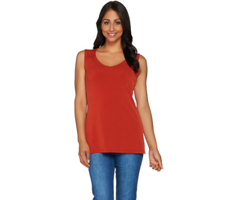Susan Graver Essentials Liquid Knit Sleeveless Top with Shirring
