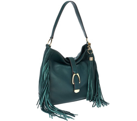 G.I.L.I Leather Stirrup Hobo Bag with Fringe