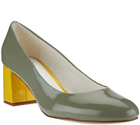 Isaac Mizrahi Live! Patent Leather Pumps with Contrast Heel