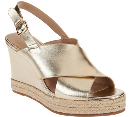 H by Halston Slingback Crossover Espadrille Wedges - Stella