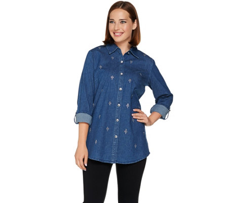Quacker Factory Woven Boyfriend Shirt With Jeweled Front
