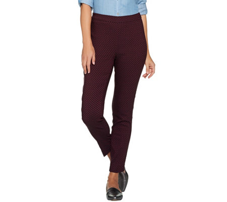Susan Graver Jacquard Print Pull On Slim Leg Ankle Pants