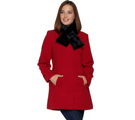 Susan Graver Faux Wool Button Down Coat with Faux Fur Scarf