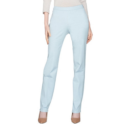 H by Halston Petite Studio Stretch Straight Leg Pull-On Pants