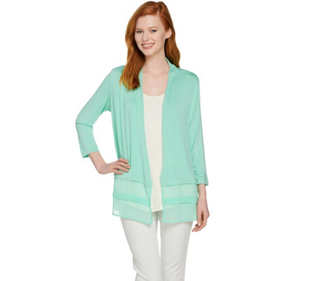 LOGO by Lori Goldstein Open Front Cardigan with Chiffon Hem