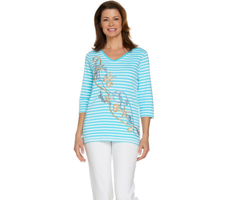 Quacker Factory Beachcomber Striped Embroidered Knit Top