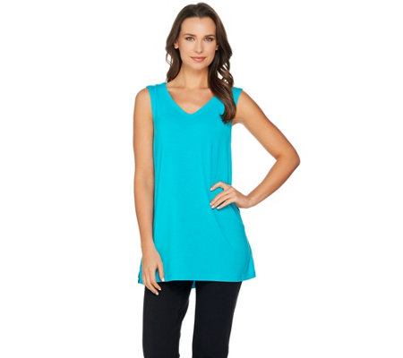 H by Halston Sleeveless V-neck Top w/ Mesh Trim