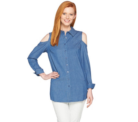 Denim & Co. Button Front Cold Shoulder Denim Tunic