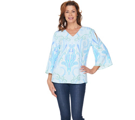 Kelly by Clinton Kelly Cold Shoulder Printed Georgette Top