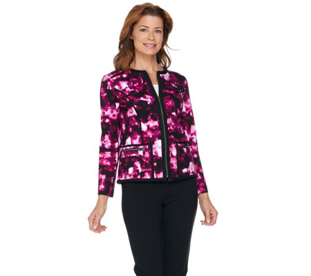 Kelly by Clinton Kelly Printed Ponte Jacket with Contrast Piping