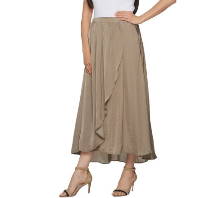 Lisa Rinna Collection Crinkle Charmeuse Maxi Skirt