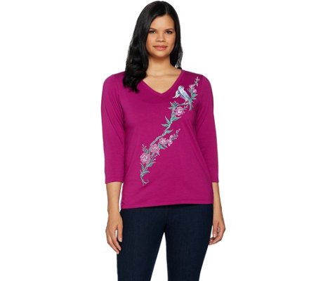 Bob Mackie's Embroidered Song Bird V-Neck Knit Top